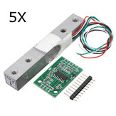 5Pcs 5KG Small Scale Load Cell Weighing Pressure Sensor With A/D HX711AD Adapter