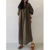 Yan Cepler ile Kadın Pamuk Katı Pileli Gevşek Puf Kol Maxi Elbiseler