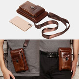 Men Genuine Leather 6.5 Inch Phone Bag Holder Belt Bag Waist Bag Crossbody Bag Shoulder Bag