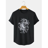 Mens Dragon Print Breathable Round Neck Casual Short Sleeve T-Shirts