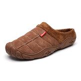 Hombre Soft Comfy Suede Antideslizante Warm Home Algodón zapatillas
