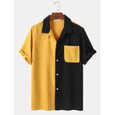 Heren splitsen stijl zak patchwork gestreepte casual shirts met korte mouwen