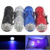 385nm 9 LED Mini aluminio UV Detección ultravioleta Lámpara Blacklight LED AAA Mini linterna