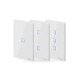SONOFF® T2 EU / US / UK AC 100-240V 1/2/3 Gang TX Series 433Mhz WIFI Wall Switch RF Smart Wall Touch Switch Untuk Rumah Pintar Bekerja Dengan Alexa Google Home