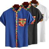 インセルン夏エスニックスタイルプリントシャツ男性半袖2020アフリカの服ダシキトップススタンドカラーストリートカミサ
