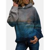 Women Landscape Sunset Printed Regular Fit Long Sleeve Casual Hoodie
