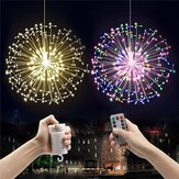 Battery Operated 8 Mode Dimmable LED Dandelion Hanging String Light Silver Wire Christmas Decor