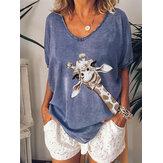Żyrafa Print Damska luźna bluzka z dekoltem w szpic