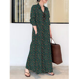 Women Ditsy Floral Print Long Sleeve Lapel Collar Vintage Shirt Maxi Dresses With Pocket