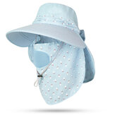 Women Cotton UV Protection Sun Hat with Face Mask and Shawl Sunshade Gardener Fishing Cap