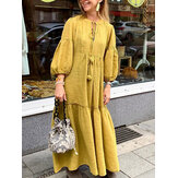Frauen Casual Cotton Puff Sleeve Quaste Design Loose Maxi Kleid
