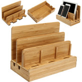 Multifunctional Bamboo Charger Dock Stand Desktop Phone Holder Organizer for Phone Tablet PC
