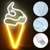 Es krim LED Neon Sign Light Karya Seni Visual Lampu Malam Lampu Dinding Kamar Tidur Rumah