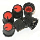 30Pcs Red Plastic For Rotary Taper Potentiometer Hole 6mm Knob