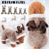 Pet Cachorro Cat ElK Trajes Roupa de inverno Puppy Suit Vestido de festa de Natal Cosplay