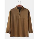 Heren gestreepte casual Henley-shirts met lange mouwen en halve rits
