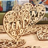 10st Heart Love DIY Wood Craft Hangende Decoratie Craft Gift