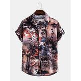 Mens Casual Landscape Print Multi Pattern Turn Down Collar Shirts