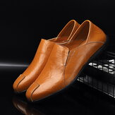 Men Leather Comfy Non Slip Casual Slip On Driving Loafers