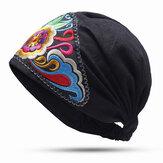 Cappello da turbante elastico da esterno con ricami floreali vintage da donna