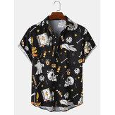 メンズハロウィンファニーオールオーバースカルプリントリラックスフィットショートスリーブシャツ