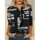 Mujer vendimia Blusa estampada con botones y cuello alto de manga larga