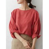 Blusas tamanho plus size feminino de cor sólida redondo decote simples manga 3/4