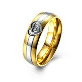 Coração ouro cristal aço inoxidável dedo anelar mulheres jóias homens para data de casamento presente