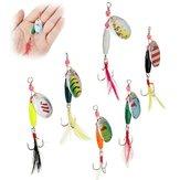 6pcs Spoon Metal Fishing Lures Crankbaits Bass Tackle Hooks Set Spinner Baits