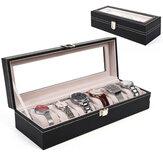 6 Gitter Aluminium Uhr Aufbewahrungskofferhalter Organizer Display Schmuck Uhr Box