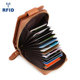Men Genuine Leather RFID Anti-magnetic Vintage Wallet