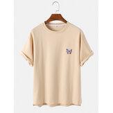 T-shirt casual da uomo a maniche corte in cotone traspirante stampato a farfalla Collo