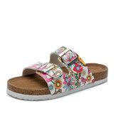 Mulheres Praia impressão Soft sandálias chinelos de cortiça com alça dupla