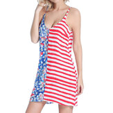 SWIMMART Damen Loose Double V Star bedruckter Streifen Backless Beach Kleid Cover Up