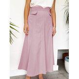 Women Solid Color Zipper Back Casual High Waist Skirts