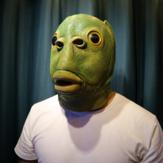 パーティーコスプレおかしいハロウィーンラテックスかわいい仮面舞踏会ラバーフィッシュマスクフルヘッドグリーンフィッシュヘッドマスク動物