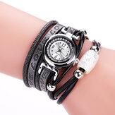 Fashion Luxury Rhinestone PU Leather Women Quartz Watch Bracelet Watch
