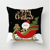 ポリエステル黒の装飾は枕カバーを投げます片面印刷漫画クリスマスギフト雪だるまサンタクロース鹿クッションカバー