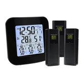 Estação meteorológica digital sem fio Termômetro 3 Sensor Medidor de umidade e temperatura