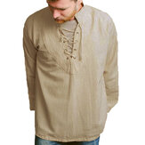 Mens Cotton Long Sleeve Ethnic Style Loose Casual Tops