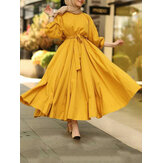 Women Solid Color Puff Sleeve Pleated Kaftan Loose Vintage Maxi Dresses With Belt