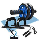 5 Em 1 Aptidão Conjunto de ferramentas de exercícios Ab Rolete Salto Corda Barra de empurrar Joelheira Abdominal Carver Aptidão Treino
