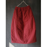 Vintage Women Pure Color Cotton Thicken Skirts