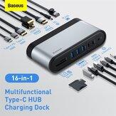 Baseus 16 em 1 HUB USB C Type C para USB 3.0 compatível com Multi HDMI com RJ45 Adaptador de alimentação para MacBook Pro Huawei Mate 30