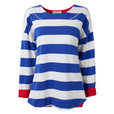 Casual Women Stripe Contrast Color Irregular Hem Split Sweater