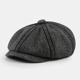 Hommes rétro sergé style britannique automne hiver garder au chaud chapeau octogonal gavroche chapeau