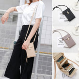Women Outdoor Large Capacity PU Leather Crossbody Bag Card Slot Zipper Wallet for Mobile Phone