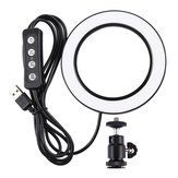 PULUZ PU377 USB 4.6 Inch 3 Modes 3200K-5500K Dimmable LED Video Ring Light with Cold Shoe Tripod Ball Head
