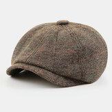 Hommes Style britannique rétro élastique décontracté motif treillis peintre gavroche chapeau béret chapeau octogonal chapeau