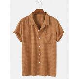 Cotton Casual Mens Plaid Chest Pocket Revere Collar Short Sleeve Shirts